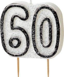 60th Birthday Candle - Black