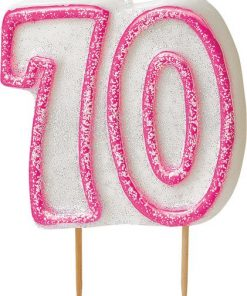 70th Birthday Candle - Pink