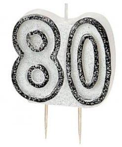 80th Birthday Candle - Black