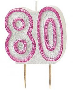 80th Birthday Candle - Pink
