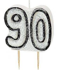 90th Birthday Candle - Black