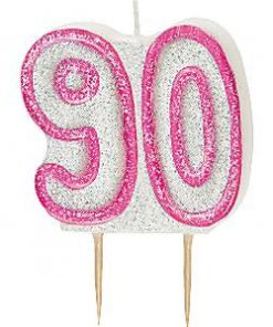 90th Birthday Candle - Pink