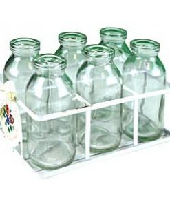 Glass School Milk Bottles in Crate