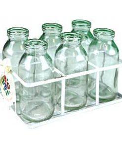 Glass School Milk Bottles in Crate