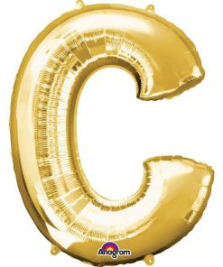 """Gold Letter C - 16"""" Foil Balloon"""