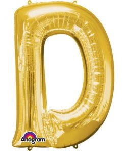 "Gold Letter D - 16"" Foil Balloon"