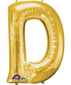 "Gold Letter D - 16"" Foil Balloon"