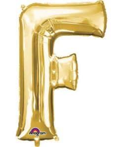 """Gold Letter F - 16"""" Foil Balloon"""