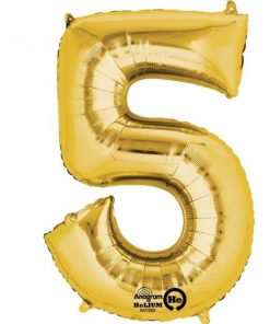 "Gold Number 5 - 16"" Foil Balloon"