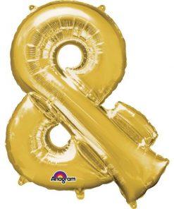 """Gold Letter & - 16"""" Foil Balloon"""