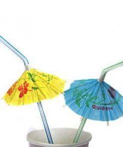 Luau Cocktail Umbrella Plastic Straws