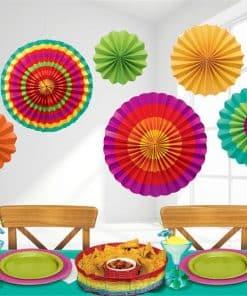 Mexican Fiesta Paper Fans - 40cm