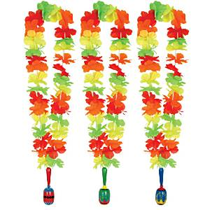 Mexican Fiesta Party Flower Hawaiian Lei with Wooden Maraca