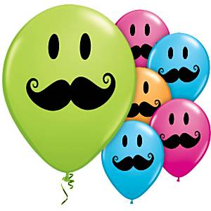 Mexican Fiesta Party Smile Face Moustache Printed Latex Balloons