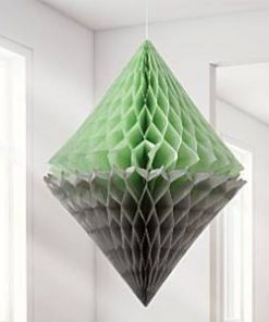 Mint & Grey Diamond Honeycomb Decorations