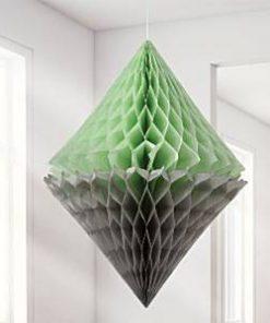 Mint & Grey Diamond Honeycomb Decorations