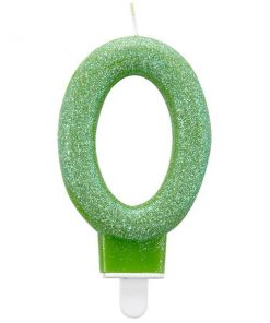 Number 0 Green Glitter Candle