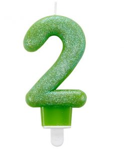 Number 2 Green Glitter Candle