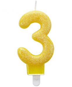 Number 3 Yellow Glitter Candle