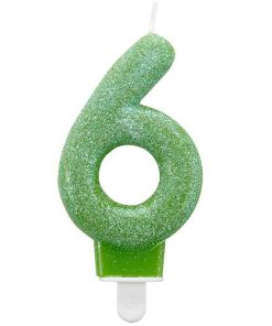 Number 6 Green Glitter Candle