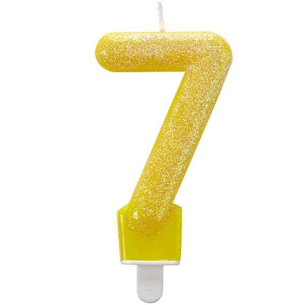 Number 7 Yellow Glitter Candle