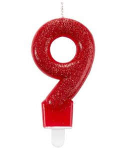Number 9 Red Glitter Candle