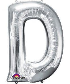 "Silver Letter D - 16"" Foil Balloon"