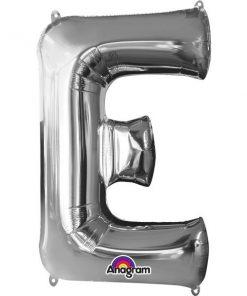 "Silver Letter E - 16"" Foil Balloon"