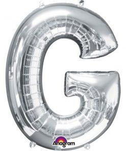 "Silver Letter G - 16"" Foil Balloon"