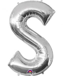 "Silver Letter S - 16"" Foil Balloon"