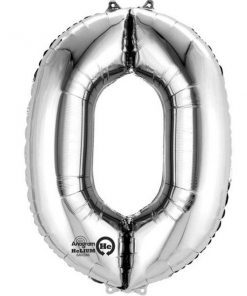 "Silver Number 0 - 16"" Foil Balloon"