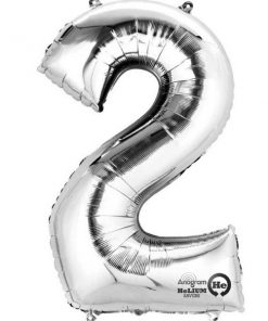 "Silver Number 2 - 16"" Foil Balloon"