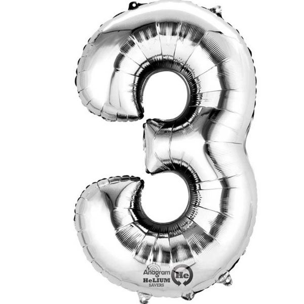 "Silver Number 3 - 16"" Foil Balloon"