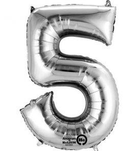 """Silver Number 5 - 16"""" Foil Balloon"""