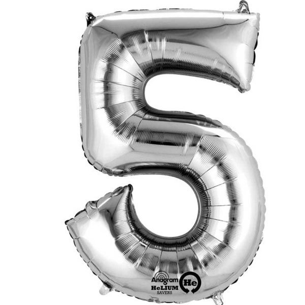 "Silver Number 5 - 16"" Foil Balloon"