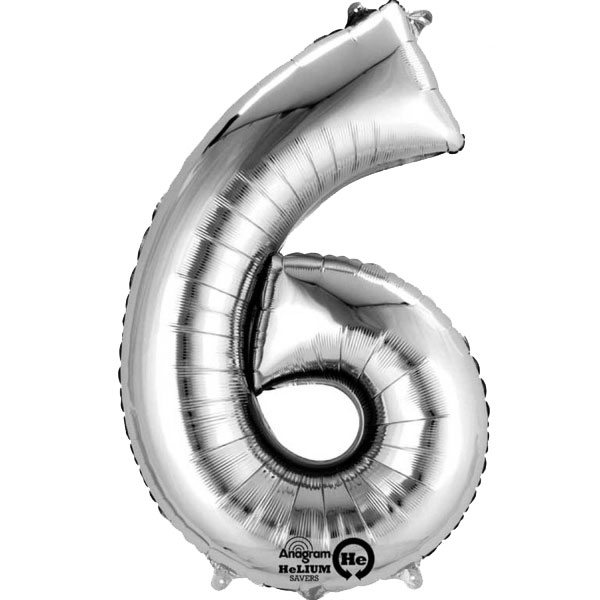 "Silver Number 6 - 16"" Foil Balloon"
