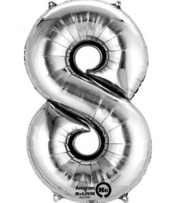 "Silver Number 8 - 16"" Foil Balloon"