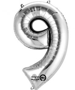 "Silver Number 9 - 16"" Foil Balloon"