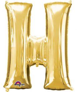"""Gold Letter H - 16"""" Foil Balloon"""