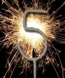 Number 5 Sparkler Candle