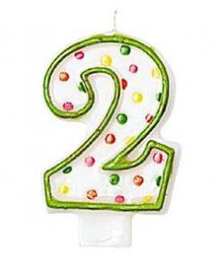 Number 2 Polka Dot Candle