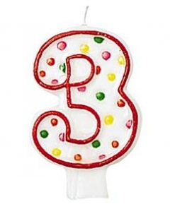 Number 3 Polka Dot Candle