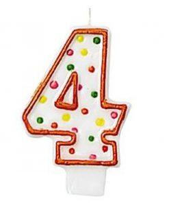 Number 4 Polka Dot Candle