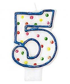 Number 5 Polka Dot Candle