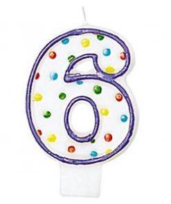 Number 6 Polka Dot Candle