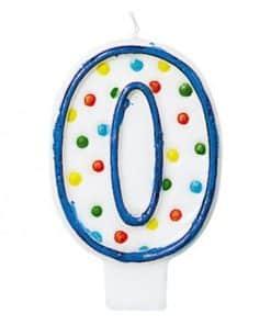 Number 0 Polka Dot Candle