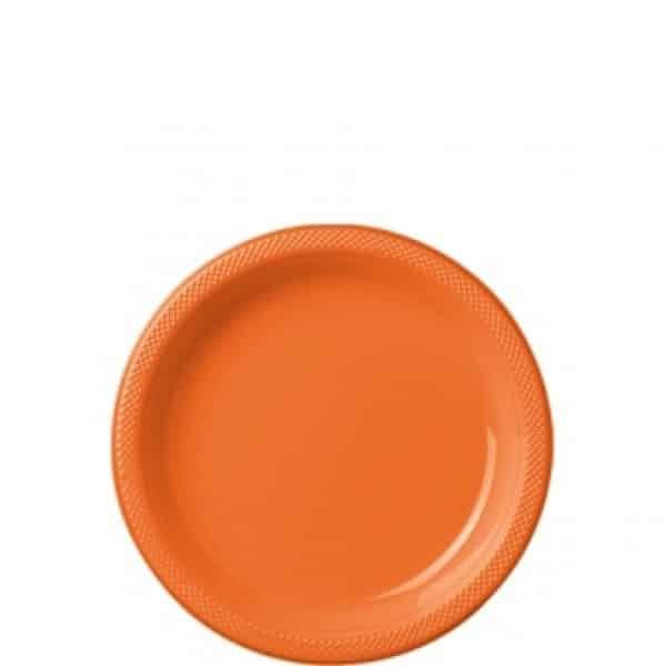 Orange Party Plastic Dessert Plates