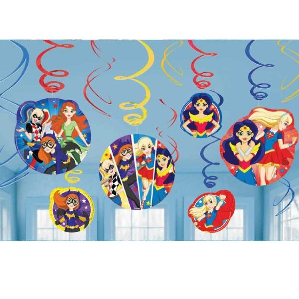 DC Super Hero Girls Party Hanging Swirl Decorations