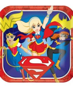 DC Super Hero Girls 18cm Square Paper Plates 8 Pack Birthday Party Tableware