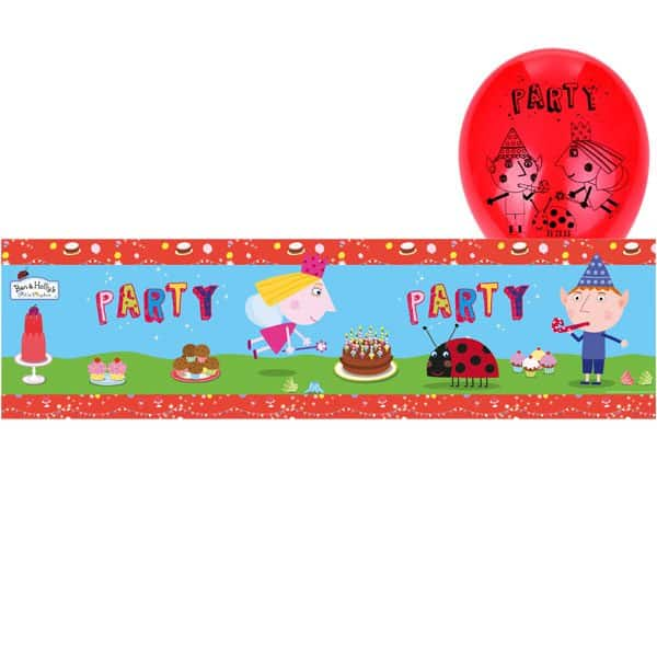Ben & Holly Party Foil Birthday Banners & Latex Balloons Pack